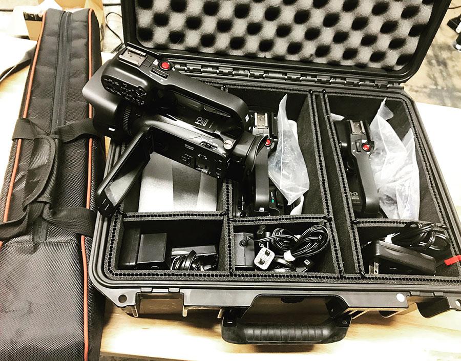 Canon camera video equipment in case