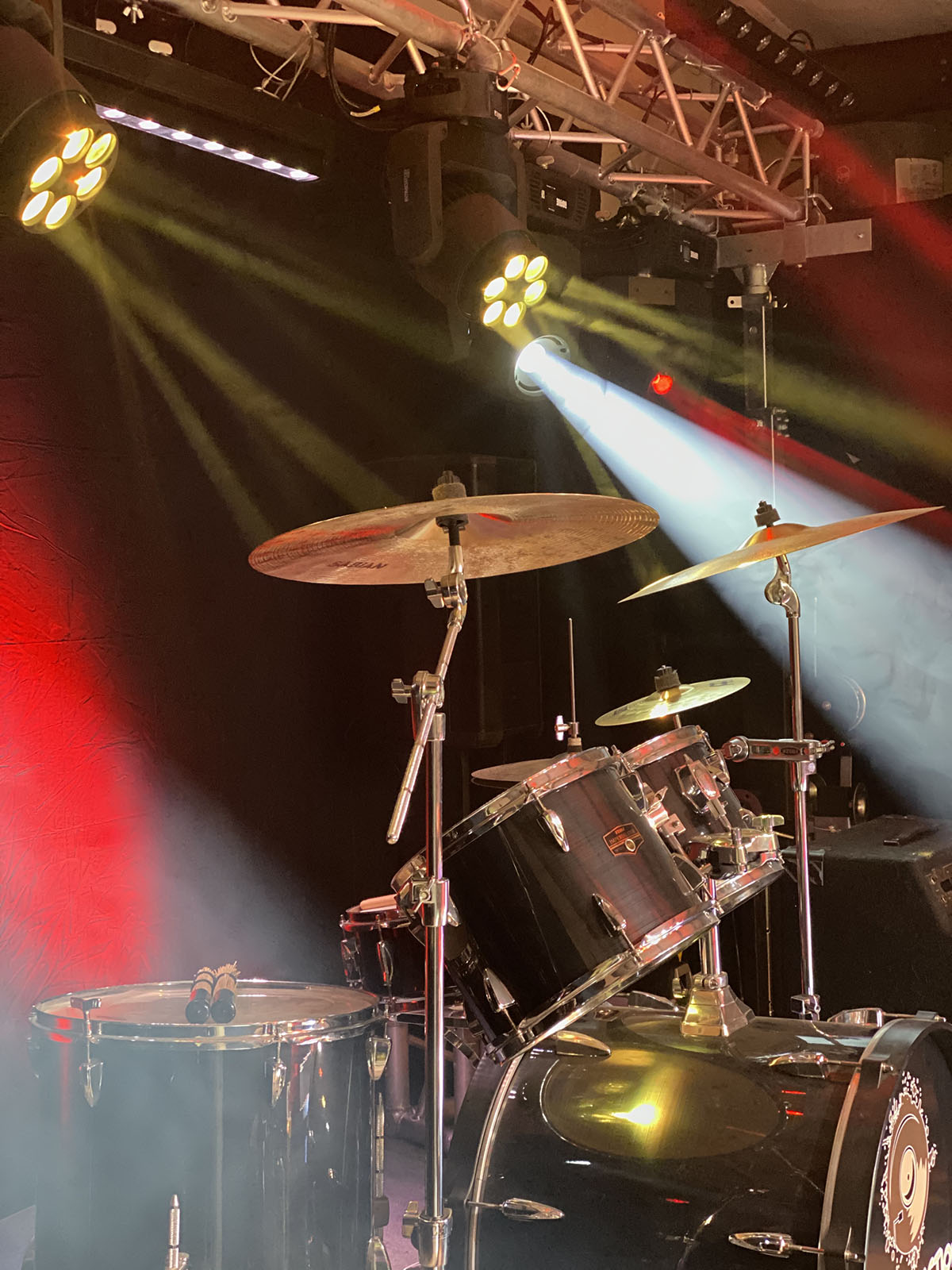 drums on stage with custom installed lighting in Tracy, CA